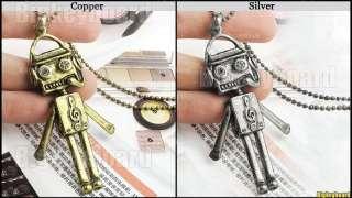 New Retro Vintage Cute Robot Notes Pendant Chain Necklaces