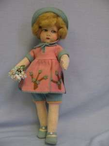 17 ½ FRENCH 1920s FELT GIRL Pink & Blue Play Outfit ALL ORIGINAL