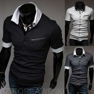 Fashion Mens T Shirt Slim POLO TOP Casual Short Sleeve Shirts Zipper