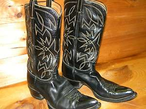 Mens Tony Lama Black Tag Western Boots Sz 8 Made in USA used
