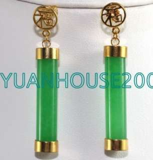 Fashion jewelry 18K GOld Plated Green Jade Earring