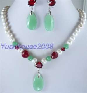 Set white FW pearl red green jade necklace earring