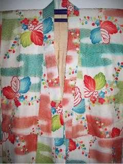 Vintage Japanese Silk Childrens Kimono Lined Girls Pink Floral Three