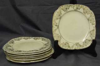 Edwin Knowles China Cream & Gold Flower LUNCHEON PLATE |