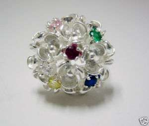 925 STERLING SILVER & COLORED CZ FLOWER RING SIZE 7