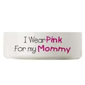 Large Dog Cat Food Water Bowl Cancer I Wear Pink Ribbon