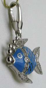 Esate 1/4ctw Old Cut Genuine Diamond Blue Enamel Fish 925 Charm or