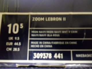 NIKE ZOOM LEBRON II 2 WHITE NAVY SIZE 10.5