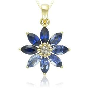 10k Yellow Gold Shades of Created Sapphire and Diamond Accented Flower