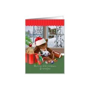 Christmas, Grandpa, Sleeping Cat, Teddy Bear Card Health