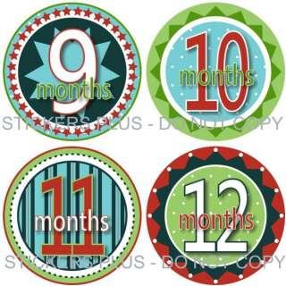 Monthly Onesie Baby Boy Stickers Fun Circles Photo Prop