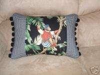 Black Copacabana Jungle Monkey Palm Tree Toile Pillow