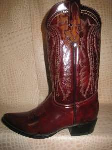 New 2011 Mens Smooth Leather Burgundy Western Cowboy Boots
