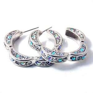 Aurora Borealis Crystal Floral Hoop Earrings Fashion Jewelry Jewelry