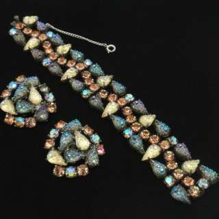 Schiaparelli Set Vintage Bracelet Earrings High Quality Textured