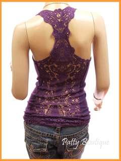Sexy Crochet Eyelet Lace Back Cami Vest Tank Top