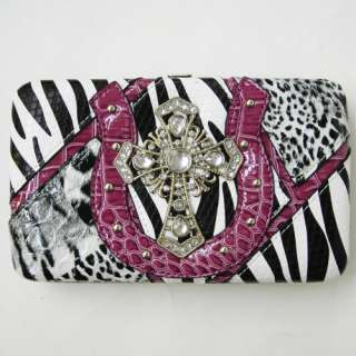 NEW PURPLE CROC Zebra BLACK Western Cross Purse Tote Handbag Wallet