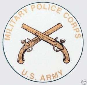 ARMY MILITARY POLICE CROSSED PISTOLS CAR WHITE DECAL