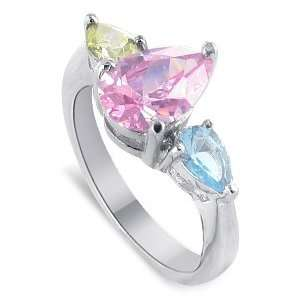Nickel Free Sterling Silver Pear Cut Pink, Citrine and