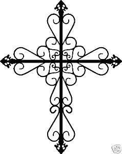 Decorative Cross Crucifix Wall Art Vinyl Sticker 8x10