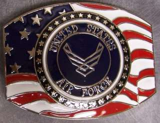 buckle saluting the united states air force emblem and flag