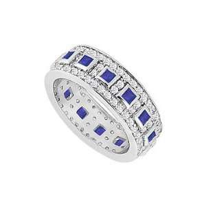 Sapphire and Diamond Wedding Band  14K White Gold   1.75
