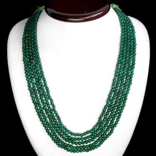 BUYERS DEMANDED 440.00 CARAT NATURAL GREEN EMERALD 5 LINE ROUND BEADS