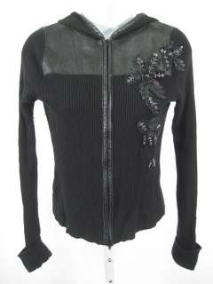 EASEL Black Embroidered Zip Up Ribbed Hooded Sweater XS