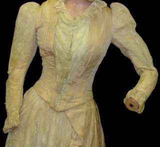 ORIG VTG VICTORIAN 1870 1880 WEDDING DRESS BUILT IN BUSTLE IVORY GOWN
