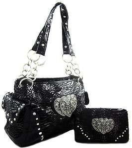 Western Faux Fur Zebra Leopard Print Triple Heart Purse Handbag Wallet