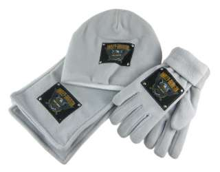Gray Fleece Harley Davidson Scarf, Gloves Hat Set