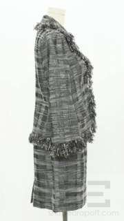 Rickie Freeman Teri Jon 2 Pc Green & Grey Fringe Skirt Suit Size 8