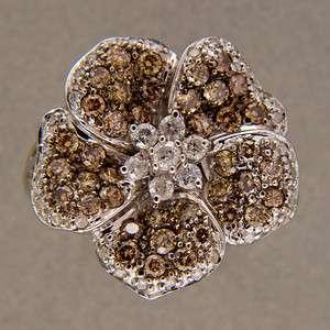 GOLDEN YELLOW 14K WHITE GOLD 1.15CT DIAMOND FIVE PETAL FLOWER RING