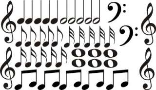 42 Music Note Vinyl Decal Wall Art Decor Stickers