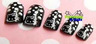 24 pcs Cute Hello Kitty False French Acrylic Nail Tips