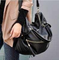 New Korean Black Women Tassel PU Leather Satchel Handbag Shoulder Bag