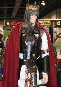 black leather body armor with tunic and cape set larp sca renfair new