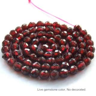 5mm Round Faceted Red Garnet Gemstone Beads strand 15