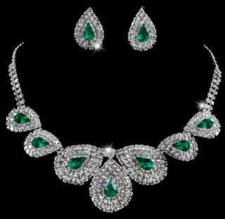 Rows Rhinestone Acrylic Crystal Clear Necklace Earrings 1set