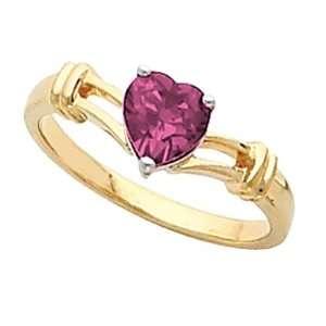 14K Yellow Gold Heart Shaped Rhodolite Garnet Ring Jewelry