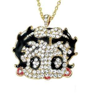Large Betty Boop Charm Pendant Gold Tone with White Crystal, 24 Gold