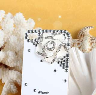 Bling Rhinestone Crystal Hard Case Cover iPhone 4 4G 4S S White