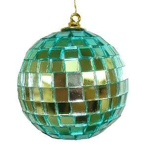 3 Turquoise Retro Mirrored Disco Ball Christmas Ornament