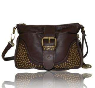 RED BY MARC ECKO BROWN GITTY UP STUDDED CROSSBODY BAG