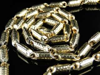 MENS 10K YELLOW GOLD DIAMOND CUT BULLET CHAIN BRACELET