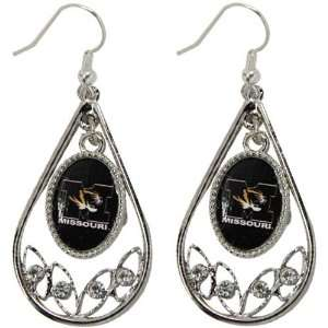 Missouri Tigers Ladies Tear Drop Crystal Dangle Earrings   Jewelry