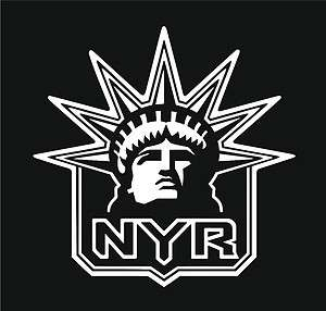 New York Rangers Vinyl Car Window Sticker/Decal (white)