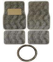 5PC TAN CHEETAH Car Carpet Floor Mats and Steering Wheel Cover