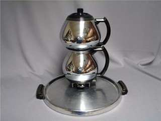 VTG SUNBEAM DOUBLE BUBBLE COFFEEMASTER COFFEE SET WITH TRAY SUGAR