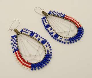 Tribal Red White Blue Dreamcatcher Earring Set Beaded